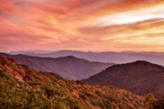 Tim Barnwell  -  Mountains at sunset, Great Smoky Mountains / Pigment Print  -  Available in Multiple Sizes