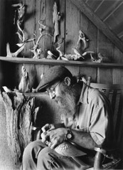 Tim Barnwell  -  Phillip Brown carving wooden bird. 2003 / Pigment Print  -  11x14 or 16x20