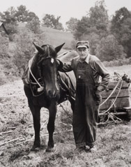 Tim Barnwell  -  Clyde Massey and Horse, Trigger, Big Pine Creek, Madison County, NC,   1981 / Silver Gelatin Print  -  11 x 14