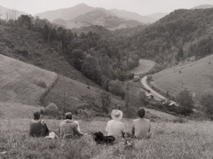 Tim Barnwell  -  B. W. Payne family, taking break, Little Pine Creek NC, 1981 / Silver Gelatin Print  -  11 x 14