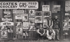 Tim Barnwell  -  Marlboro Men at Coates Grocery, 1982 / Silver Gelatin Print  -  11 x 14