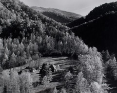 Tim Barnwell  -  Farms Nestled in Mountains, 2000 / Silver Gelatin Print  -  15.5 x 19