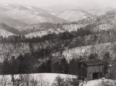Tim Barnwell  -  Looking toward Hot Springs, snow, 1989 / Silver Gelatin Print  -  11 x 14