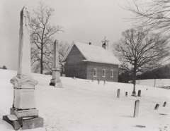 Tim Barnwell  -  Leicester Church in Snow, Leicester, Buncombe County, NC, 1982 / Silver Gelatin Print  -  11 x 14