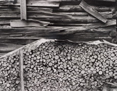 Tim Barnwell  -  Woodpile and Barn Wall, Big Pine Creek, Madison County, NC / Silver Gelatin Print  -  11 x 14