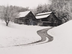 Tim Barnwell  -  Two Barns in Snow, Walnut, Madison County, NC, 1989 / Silver Gelatin Print  -  16 x 20