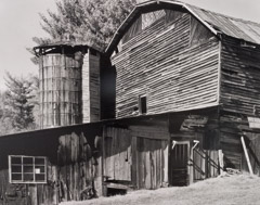 Tim Barnwell  -  Barn and Silo, Big Pine Creek, Madison County, NC, 2002 / Silver Gelatin Print  -  16 x 20