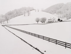 Tim Barnwell  -  Farm and Fence Lines in Snow, Haywood County, NC, 1991 / Silver Gelatin Print  -  16 x 20