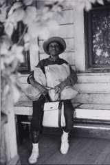 Ruth-Marion Baruch  -  Black Woman on Porch, 1961 / Silver Gelatin Print  -  13.25 x 9.5