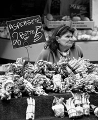 Mario DiGirolamo  -  Asparagus Vendor, Farmer's Market, Paris France, 1992 / Silver Gelatin Print  -  Available in multiple sizes