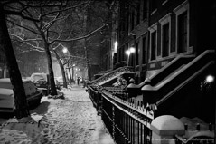 Harold Feinstein  -  Night Snow W 11th Street / Silver Gelatin Print  -  16 x 20