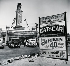 John Gutmann  -  Eat in Car, Early Drive-In Restaurant, Hollywood, CA, 1935 / Silver Gelatin Print  -  11 x 14