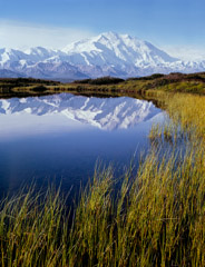 Philip Hyde  -  Mt. Denali, Reflection Pond, Denali National Park, Alaska, 1971 / Pigment Print  -  14 x 11