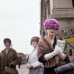 Vivian Maier  -  Chicago, 1962 (pink hat) / Chromogenic Print  -  12 x 12 on 16 x20 paper