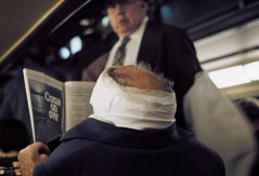 Vivian Maier  -  Chicagoland, May 1976, (man head bandage) / Chromogenic Print  -  10 x 15 (on 16x20 paper)