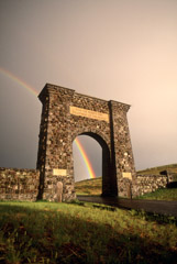 Tom Murphy  -  Roosevelt Arch and Rainbow-Vertical / Color Pigment Print  -  Available in multiple sizes