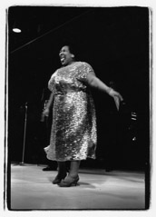 Herb Snitzer  -  Singer Velma Middleton performing with the Louis Armstrong band, Tanglewood, MA, 1960 / Silver Gelatin Print  -  11 x 14