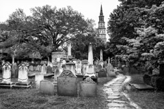Tim Barnwell  -  2223, Cemetery, Circular Congregational Church (steeple of St. Phillips in background), Charleston, SC * /   -