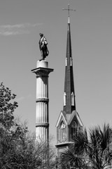 Tim Barnwell  -  2230, Statue of John C. Calhoun (in Marion Square Park) and Church Steeple, Charleston, SC /   -