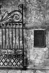 Tim Barnwell  -  2324, College of Charleston gate, wall, plaque detail at Porter's Lodge arch, SC /   -