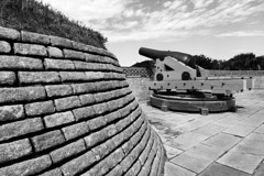 Tim Barnwell  -  2341, Canon with stone wall, left side, front, Ft. Moultrie, SC /   -