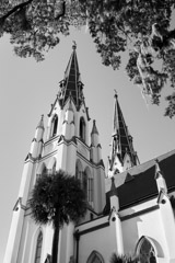 Tim Barnwell  -  2428, Cathedral of St. John the Baptist, side view of steeples, Savannah, GA /   -