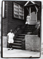 Herb Snitzer  -  Luois Armstrong at his home, 34-56 107 St. Corona NY, Queens, NYC, 1960 / Silver Gelatin Print  -  11 x 14