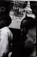 Herb Snitzer  -  NAACP, Protest in Harlem, in front of Teresa Hotel Harlem,1958 / Silver Gelatin Print  -  framed