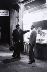 Herb Snitzer  -  Saxophonist Lester Young and Hank Jones outside Five Spot Café, NYC, 1958 / Silver Gelatin Print  -  15 x 10