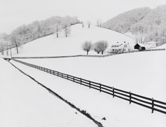 Tim Barnwell  -  Farm and Fence Lines in Snow, Lake Junaluska, Haywood County, NC, 1991 / Silver Gelatin Print  -  16 x 20
