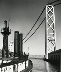 John Gutmann  -  First Two Towers of Bay Bridge Under Construction, San Francisco / Silver Gelatin Print  -  11x14