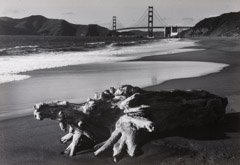 Pirkle Jones  -  Log and Golden Gate Bridge, San Francisco, 1952 / Silver Gelatin Print  -  11 x 14