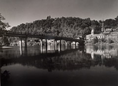 Tim Barnwell  -  Bridge Across the French Broad River, Marshall, Madison County, NC, 2000 / Silver Gelatin Print  -  16 x 20