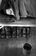 Harold Feinstein  -  Boots Stowed Under Cot, 1952 / Silver Gelatin Print  -  available in multiple sizes