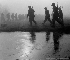 Harold Feinstein  -  Soldiers, Ice & Fog, 1952 / Silver Gelatin Print  -  available in multiple sizes