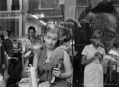 Harold Feinstein  -  Beauty Parlor Window, 1964 / Silver Gelatin Print  -  available in multiple sizes