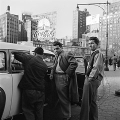 Vivian Maier  -  New York NY, 1954 (2 guys and cabbie) / Silver Gelatin Print  -  12 x 12 (on 16x20 paper)