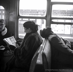 Harold Feinstein  -  Asleep on the Subway Train, 1949 / Silver Gelatin Print  -  16 x 20