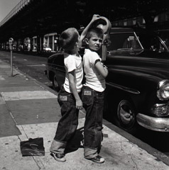 -  New York, NY 1954, (2 boys parking meter) / Silver Gelatin Print  -  12 x 12 (on 16x20 paper)