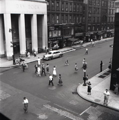 Vivian Maier  -  New York, NY 1954 (street from above) / Silver Gelatin Print  -  12 x 12 (on 16x20 paper)