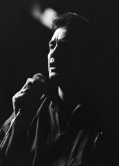 Al Clayton  -  Johnny Cash (with mic) / Pigment Print  -  Available in multiple sizes
