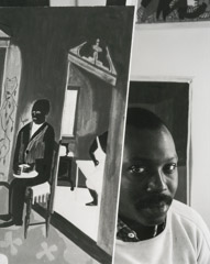 Arnold Newman  -  Jacob Lawrence, Brooklyn, NY, 1959 / Silver Gelatin Print  -  12.75 x 10.25  (11 x 14)