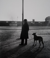 John Gutmann  -  Man with Dog in an Empty Square. Rotterdam, 1933,  / Silver Gelatin Print  -  8x10