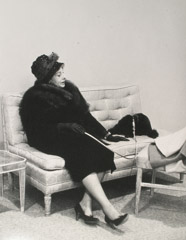 Ruth-Marion Baruch  -  Woman in Grand Salon with Dog, 1961 / Silver Gelatin Print  -  11 x 14