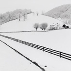 Farm and Fence Lines in Snow, Lake Junaluska, Haywood County, NC